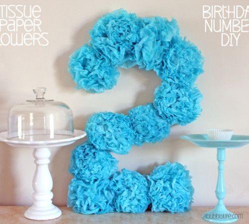 Tissue Pom Pom Paper Flowers Birthday Number DIY