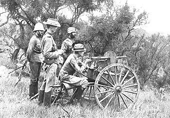 The 1895 Model Colt machine gun that the Royal Canadian Dragoons and other Canadian mounted units adopted after their arrival in South Africa. It was mounted on a carriage that could be pulled by a single horse. Here it is operated by a British team