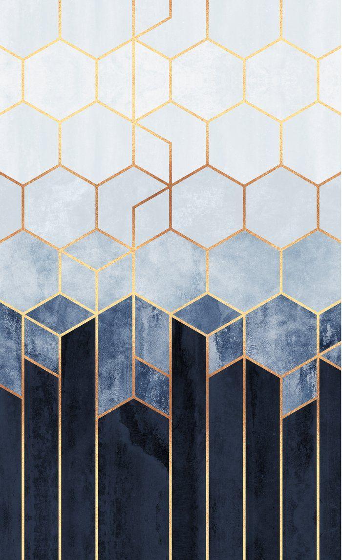Soft Blue Hexagons Window Curtains Art Deco Pattern Geometric Art Art Deco Design