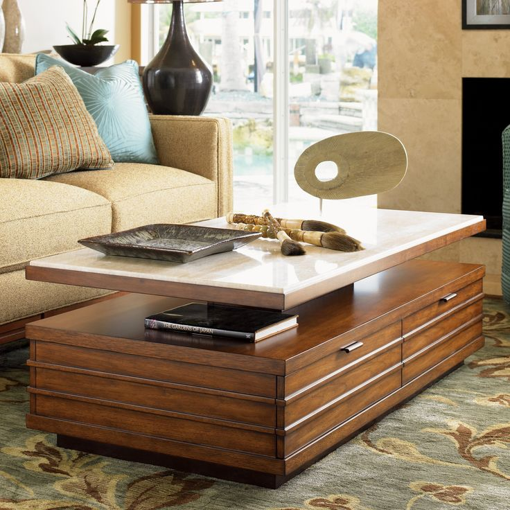 Tommy Bahama By Lexington Home Brands Ocean Club Solstice Rectangle  Travertine And Wood Cocktail Table |