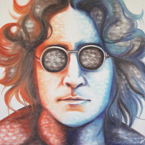 John Lennon portrait created with lipstick and kiss prints!  Gallery - Lipstick Lex