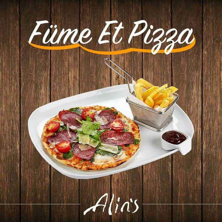 ⭐️ Yeni lezzetlerimizden Füme Et Pizza!  Sunumda patates kızartması ve BBQ sos ile bresola, mantar, roka, çeri domates, kaşar ve parmesan peynirli #Alins Füme Et Pizza sizler için hazırlandı. 🍕🍕🍕