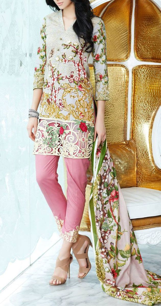 Buy Light Grey Embroidered Cotton Lawn Dress by Mahnoor 2016