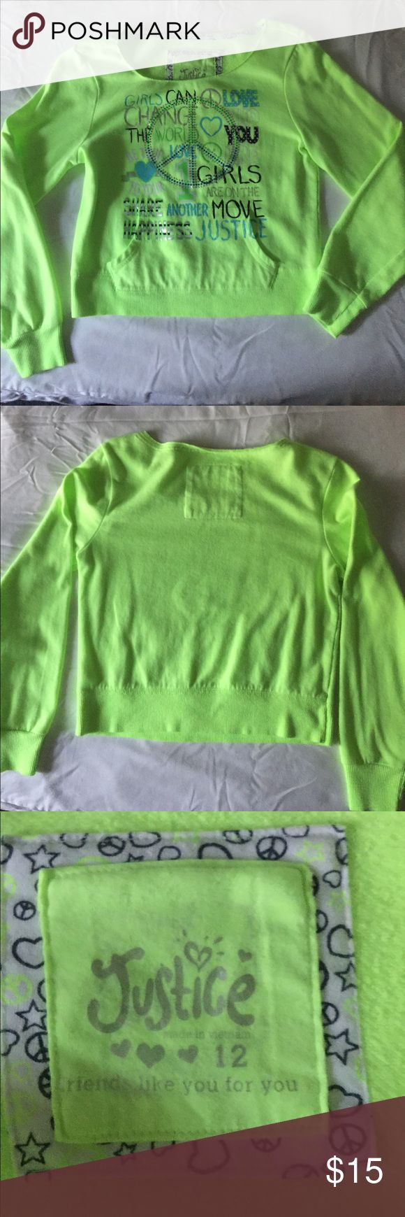 Justice girls top Lime green sweat shirt Justice Shirts & Tops Sweatshirts & Hoodies