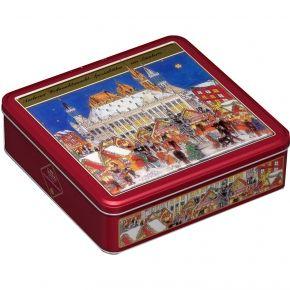 Lambertz Aachener Weihnachtsmarktdose 500g Nostalgie-Metalldose mit original Aachener Lebkuchen-Spezialitäten, 6-fach sortiert