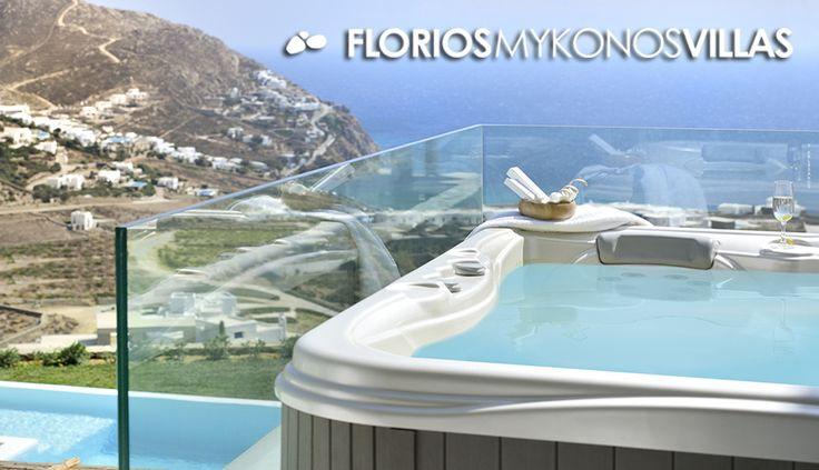 Indulge yourself in the outdoors Jacuzzi with the stunning sea view of this luxurious Villa for Rent in Elia, Mykonos island Greece. FMV1495 http://florios-mykonos-villas.com/property/fmv1495/