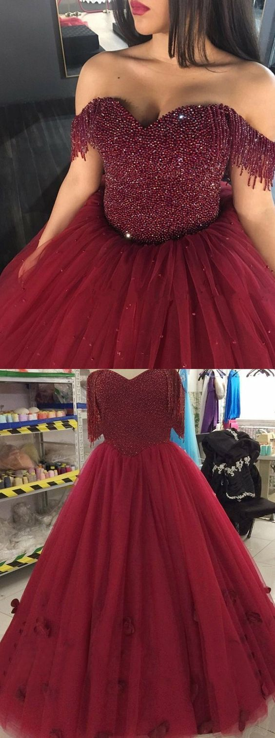 Ball gown offtheshoulder burgundy tulle quinceanera dress with