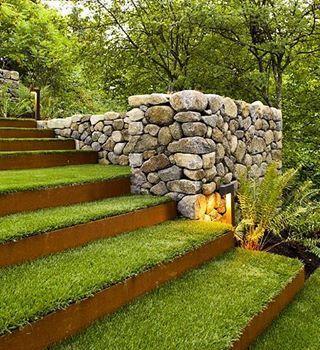 Grass steps with corten steel by Scot Eckley Landscape Design & Construction