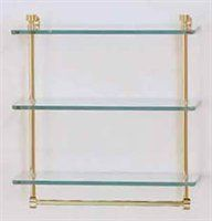 16 x 5 Triple Glass Shelf w/TB. Finish: Satin Brass by Allied. $88.40. Finish: Satin Brass. 16 x 5 Triple Glass Shelf with Towel Bar from the Mambo Collection, Available in several finishes, Solid brass, glass construction, 3/8 Thick tempered glass with tempered edge, 5 Wide edge. Wall mounted. The finish of the main image shown may not match listing, please view the second image to view color finishes.Some assembly may be required. Please see product details.Some assembly ...