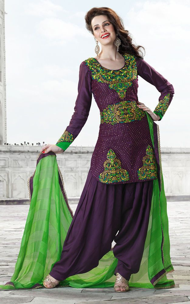 Punjabi Patiala Bollywood New Designer Indian unstitched salwar kameez freeship  #Handmade #SalwarKameez