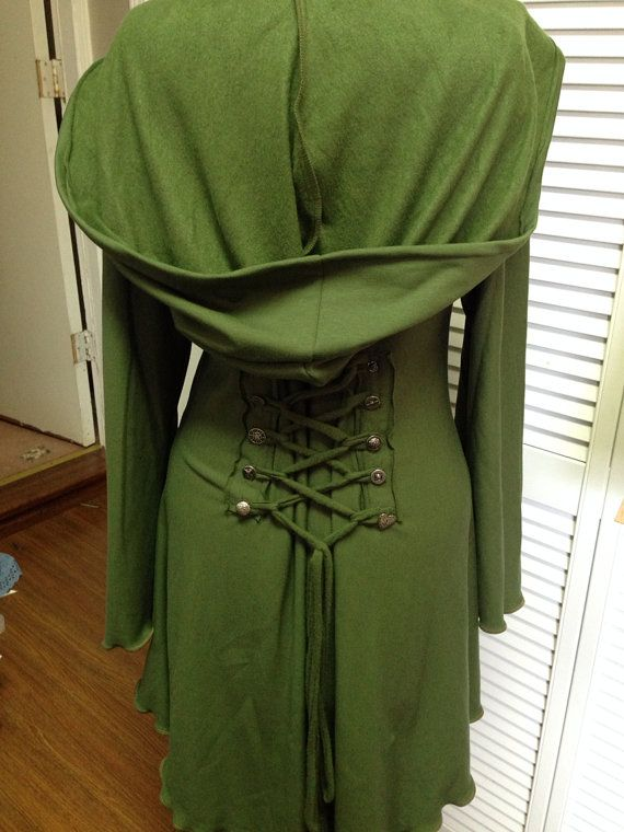 Green corset laced  festival hoodie Fairy  by FayeTalityCouture, $135.00 This is the green that I like but U would like a deeper longer hood. #LoveFayeTcouture #ContestTime #MorganaGiveAway
