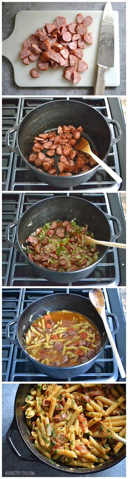 "Pastalaya   Ingredients    1 Tbsp vegetable oil  ½ lb. smoked sausage (preferably Andouille)  2 cloves garlic  1 10oz. bag frozen ""seas..."