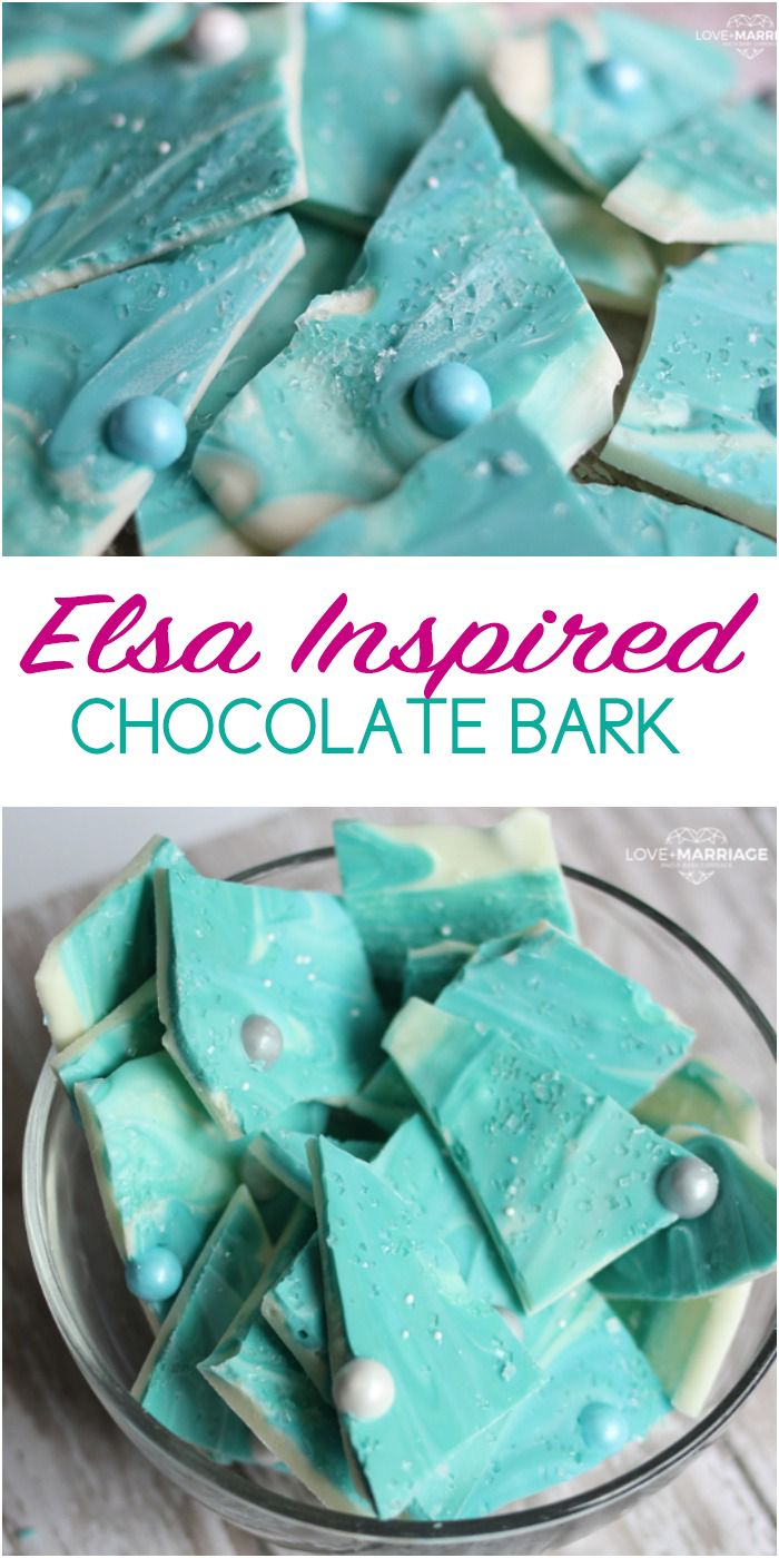 A yummy sweet treat inspired by our favorite Frozen character, Elsa! Love this chocolate bark recipe.