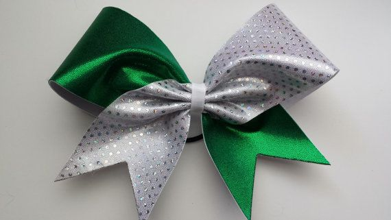 Buy Green and white sparkly cheer bow. by bragaboutitcheerbows. Explore more products on http://bragaboutitcheerbows.etsy.com