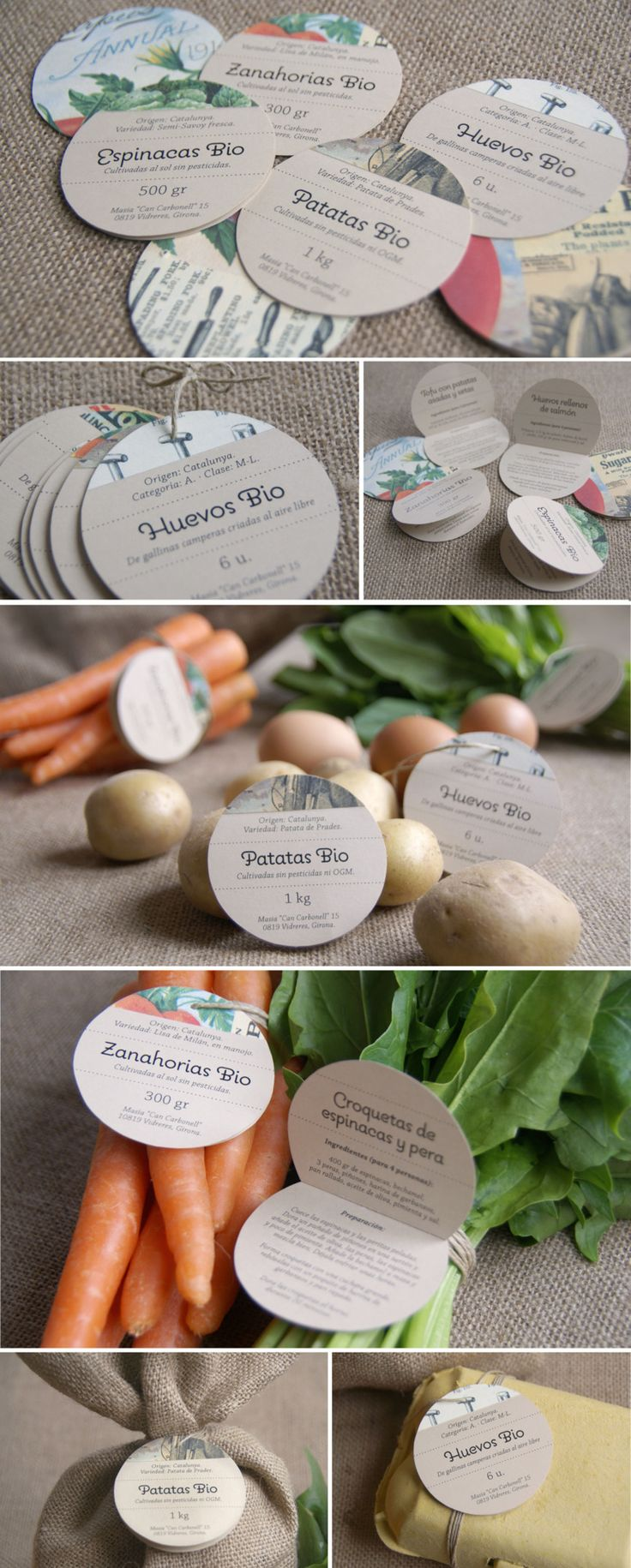Packaging design for Masia Can Carbonell, organic vegetables.