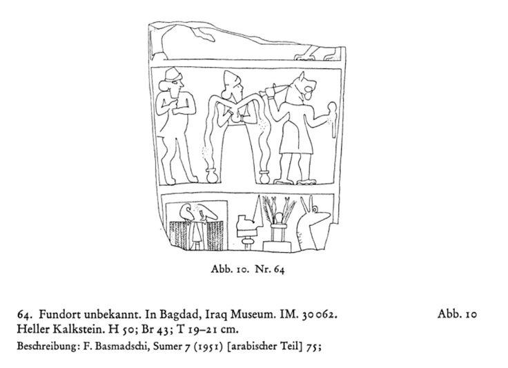 Die babylonischen Kudurru-reliefs: Symbole mesopotamischer Gottheiten - Ursula Seidl - Abb. 10. Nr. 64. Fundort unbekannt. In Bagdad, Iraq Museum IM. 30062. Heller Kalkstein. H 50; Br 43; T 19-21 cm. Beschreibung: F. Basmadschi, Sumer 7 (1951) [arabischer Teil] 75; Abbildungen: ibidem Taf. VI 1; Bearbeitung: Der Text ist nicht gelesen. Fragment einer Steinplatte. Ein Register des Reliefs ist vollständig, zwei nur teilweise erhalten. Im oberen Feld erkennt man links noch einen nach rechts…