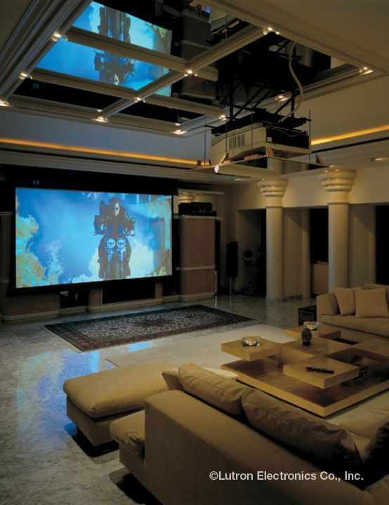 Now this is the ultimate home theater! Dimmed lights help recreate the movies from start to finish. http://www.lutron.com/en-US/Residential-Commercial-Solutions/Pages/Residential-Solutions/Residential-App/ResidentialApplications.aspx