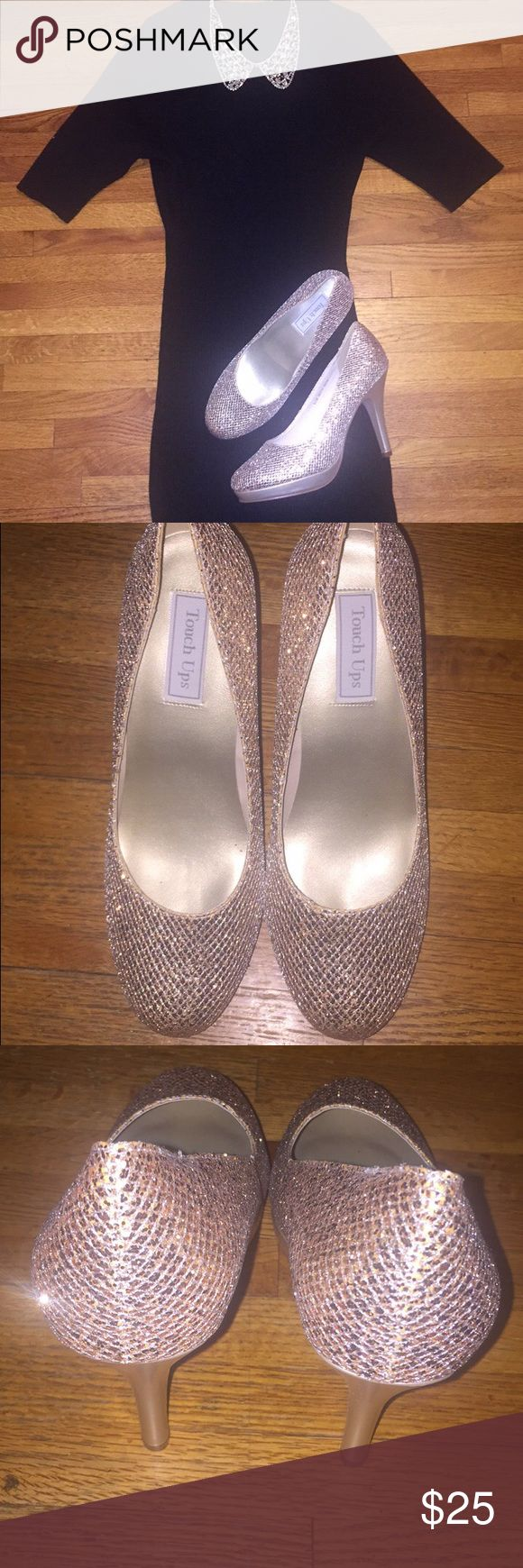 The perfect gold wedding heels What goes better with a black dress (bridesmaids dress or wedding gown) than the perfect SHOES! (Shoes Only) Touch Ups brand. Worn once for a wedding. Gold upper. Size 10.5 Touch Ups Shoes Heels