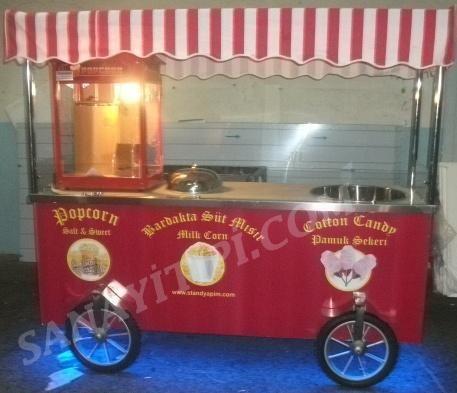 Popcorn ( patlamış mısır ) + pamuk şeker + bardakta mısır seyyar arabası » - Sanayi tipi