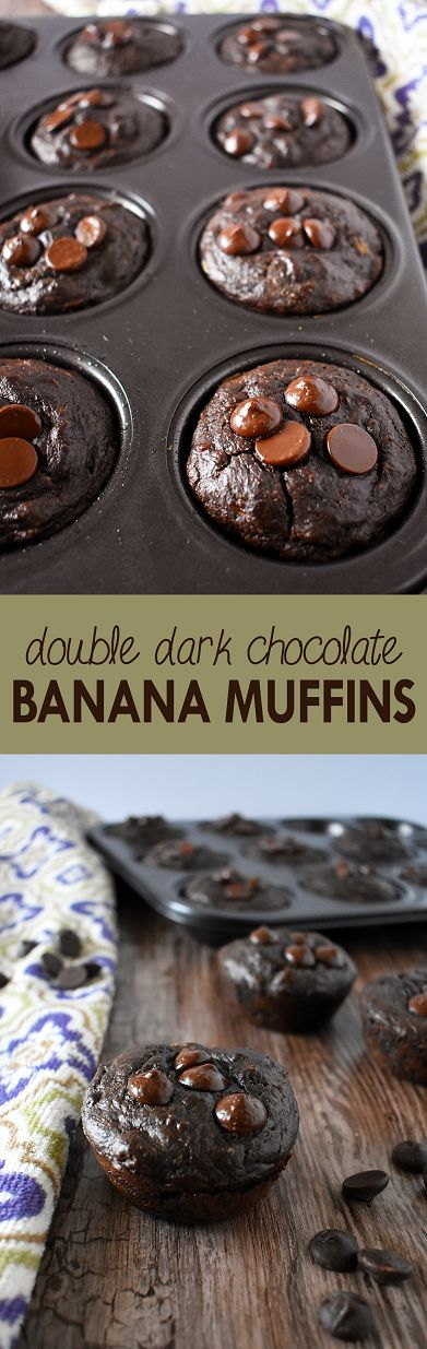 Double dark chocolate banana muffins made with less than ten ingredients and no added sugar or grains | The Small Town Foodie