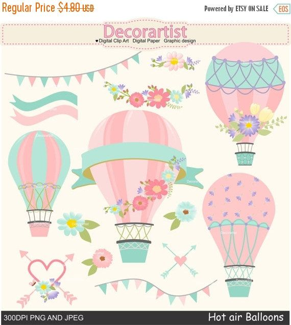 ON SALE Hot Air Balloons clip art hot air by Decorartistclipart