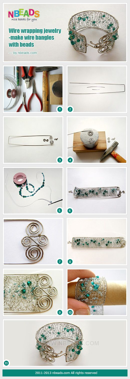 wire wrapping jewelry-make wire bangles with beads by Štěpánka Stepule Horáková