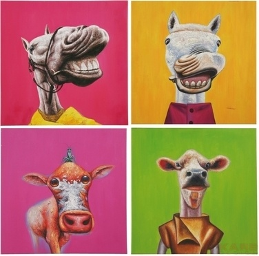 Oil Painting Crazy Animals 60x60 Assorted