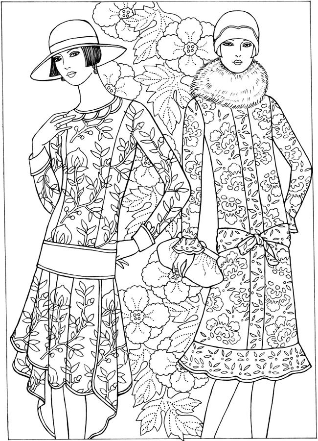 Welcome To Dover Publications Creative Haven Art Deco Fashion Coloring Pages