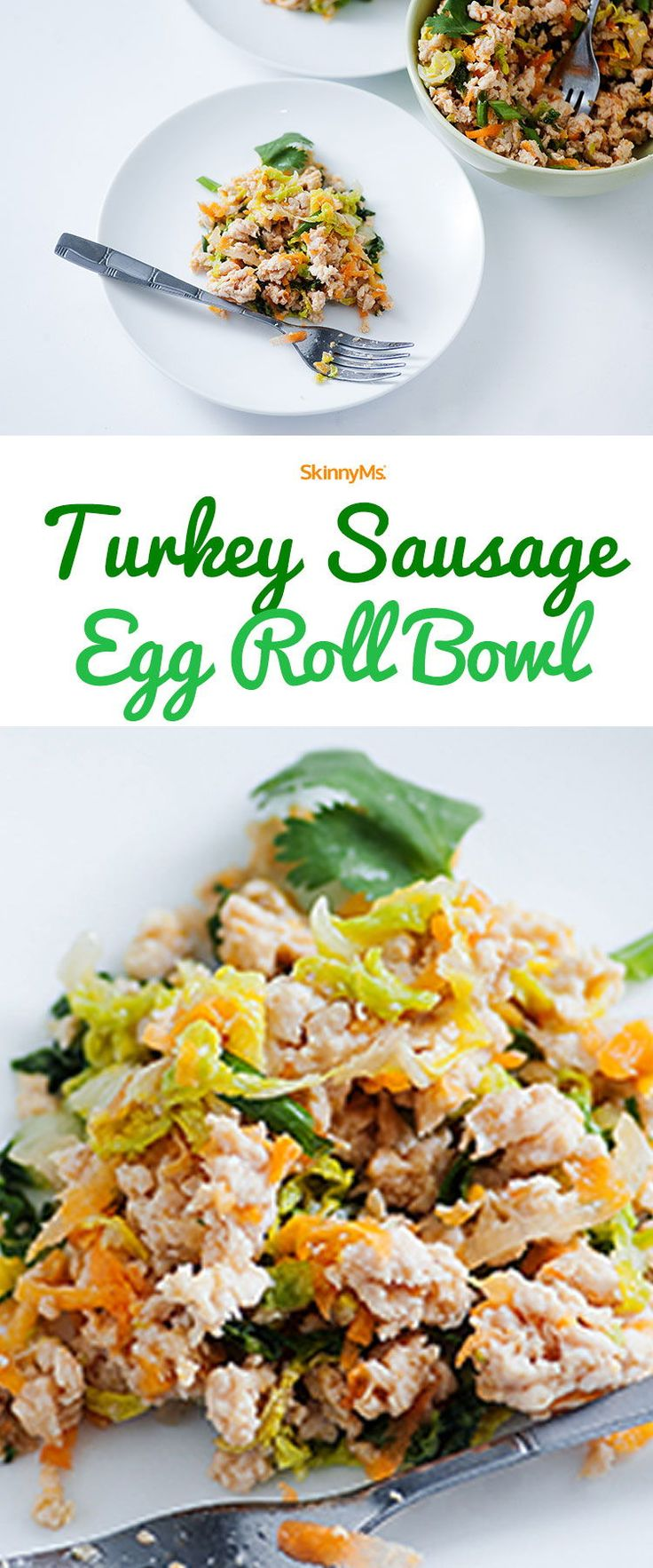 This Turkey Sausage Egg Roll Bowl is low in calories and high in protein! #powerbowl #recipe #turkey #healthy