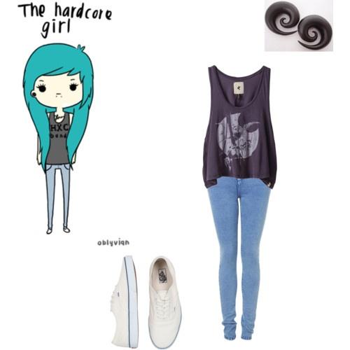 gauges, skinny jeans, blue, white vans, vans shoes, hardcore style, hardcore fashion, girl