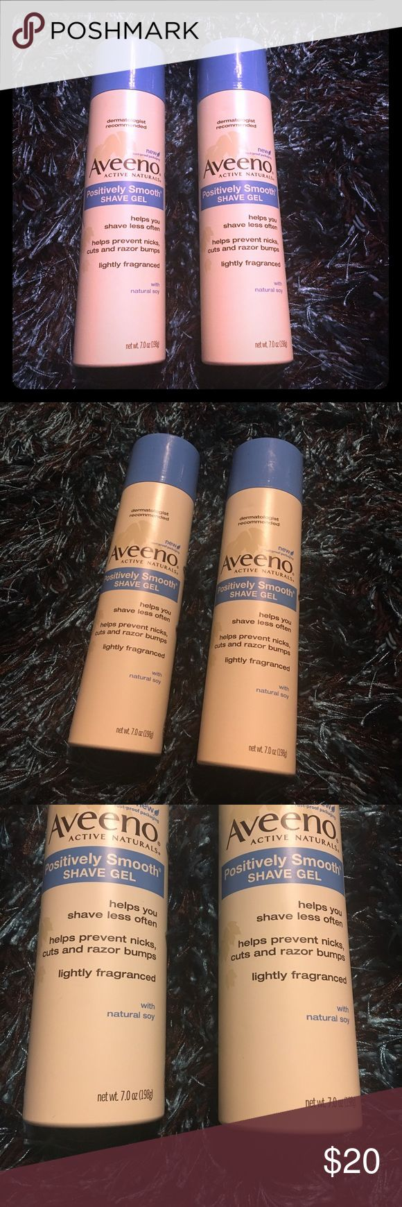 Aveeno Positively Smooth Shave Gel 🛍🎀 Aveeno Positively Smooth Shave Gel Cans. Includes two. One used twice, other never used. Helps you shave less often. Fullsize 7.0 oz Aveeno Makeup Brushes & Tools