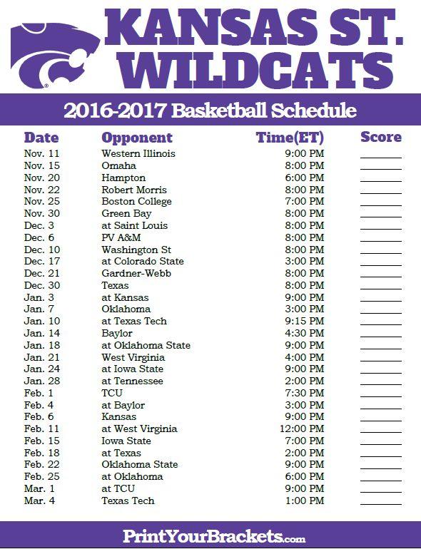 Kansas State Wildcats 2016-2017 College Basketball Schedule