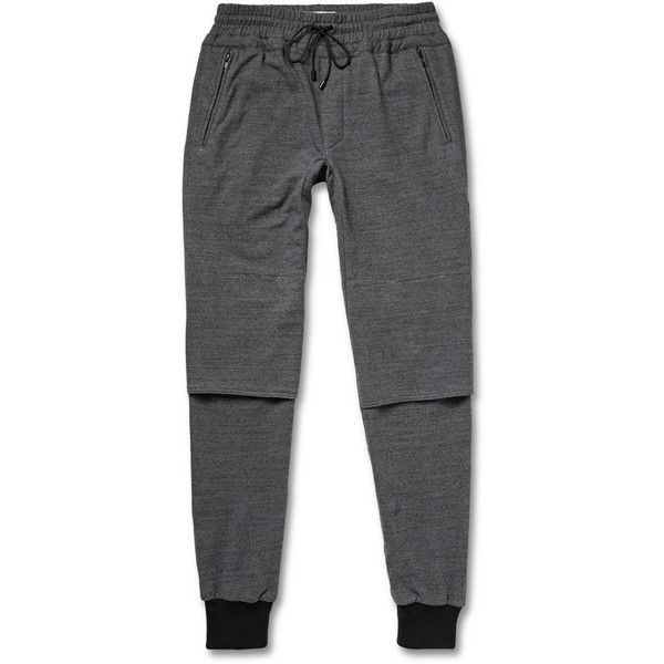 Public School Cotton-Terry Sweatpants ($415) ❤ liked on Polyvore featuring mens, men's clothing, men's activewear, men's activewear pants and grey