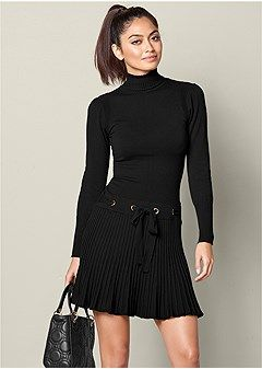 7ae7713849f Discover Pleated Sweater Dress in Black online at Venus at an affordable  price today! Shop formal dresses
