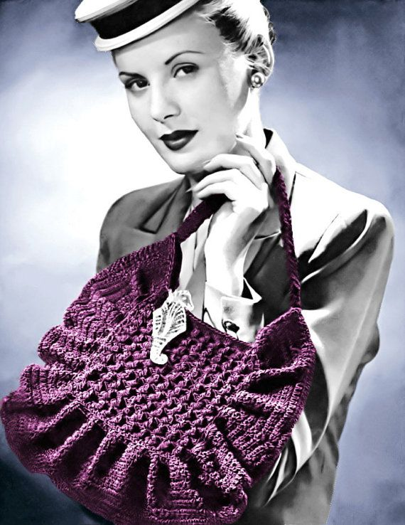 1940s Crocheted Pleated Ruffle Handbag