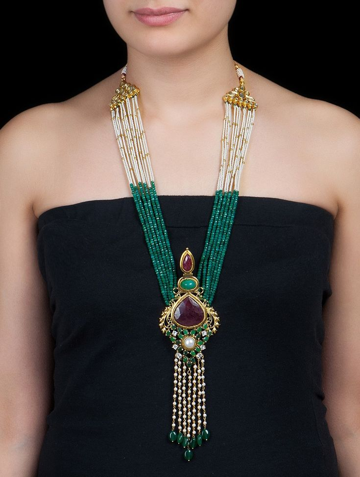 Buy Multicolor Kundan Work Necklace by Anjali Jain Metal Alloy Semi Precious Stones Zari Thread Crystal Pearl Jewelry Fashion Classic Stone Studded with Cutwork Online at Jaypore.com