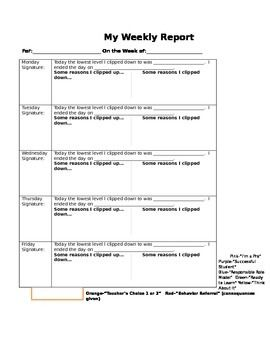 Weekly Behavior Report for Clip Chart by Night Owl Creations by Stacy Fleming | Teachers Pay Teachers