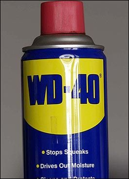 WD-40 USES: 1. Protects silver from tarnishing. 2. Removes road tar and grime from cars. 3. Cleans and lubricates guitar strings. 4. Gives floors that 'just-waxed' sheen without making them slippery. 5. Keeps flies off cows. (I love this one!) 6. Restores and cleans chalkboards. 7. Removes lipstick stains. 8. Loosens stubborn zippers. 9. Untangles jewelry chains. 10. Removes stains from stainless steel sinks. 11. Removes dirt and grime from the barbecue grill. 12. Keeps ceramic/terra cotta garden pots from oxidizing. 13. Removes tomato stains from clothing. 14. Keeps glass shower doors free of water spots. 15. Camouflages scratches in ceramic and marble floors. 16. Keeps scissors working smoothly. 17. Lubricates noisy door hinges on vehicles and doors in homes. 18. It removes black scuff marks from the kitchen floor! Use WD-40 for those nasty tar and scuff marks on flooring. It doesn't seem to harm the finish and you won't have to scrub nearly as hard to get them off. Just remember to open some windows if you have a lot of marks. 19. Bug guts will eat away the finish on your car if not removed quickly! Use WD-40! 20. Gives a children's playground gym slide a shine for a super fast slide. 21. Lubricates gear shift and mower deck lever for ease of handling on riding mowers... 22. Rids kids rocking chairs and swings of squeaky noises. 23. Lubricates tracks in sticking home windows and makes them easier to open.. 24. Spraying an umbrella stem makes it easier to open and close. 25. Restores and cleans padded leather dashboards in vehicles, as well as vinyl bumpers. 26. Restores and cleans roof racks on vehicles. 27. Lubricates and stops squeaks in electric fans 28. Lubricates wheel sprockets on tricycles, wagons, and bicycles for easy handling. 29. Lubricates fan belts on washers and dryers and keeps them running smoothly. 30. Keeps rust from forming on saws and saw blades, and other tools. 31. Removes splattered grease on stove. 32. Keeps bathroom mirror from fogging. 33. Lubricates prosthetic limbs. 34. Keeps pigeons off the balcony (they hate the smell). 35. Removes all traces of duct tape. 36. Folks even spray it on their arms, hands, and knees to relieve arthritis pain. 37. Florida 's favorite use is: 'cleans and removes love bugs from grills and bumpers.' 38. The favorite use in the state of New York , WD-40 protects the Statue of Liberty from the elements. 39. WD-40 attracts fish. Spray a little on live bait or lures and you will be catching the big one in no time. Also, it's a lot cheaper than the chemical attractants that are made for just that purpose. Keep in mind though, using some chemical laced baits or lures for fishing are not allowed in some states. 40. Use it for fire ant bites. It takes the sting away immediately and stops the itch. 41. WD-40 is great for removing crayon from walls. Spray on the mark and wipe with a clean rag. 42. Also, if you've discovered that your teenage daughter has washed and dried a tube of lipstick with a load of laundry, saturate the lipstick spots with WD-40 and rewash. Presto! The lipstick is gone! 43. If you sprayed WD-40 on the distributor cap, it would displace the moisture and allow the car to start. P.S. The basic ingredient is Fish Oil.   google.com: Removes Stains, Removes Road, Cleans Chalkboards, Protects Silver, Removes Lipstick, Lipstick Stains, Steel Sinks, Road Tar, Stainless Steel