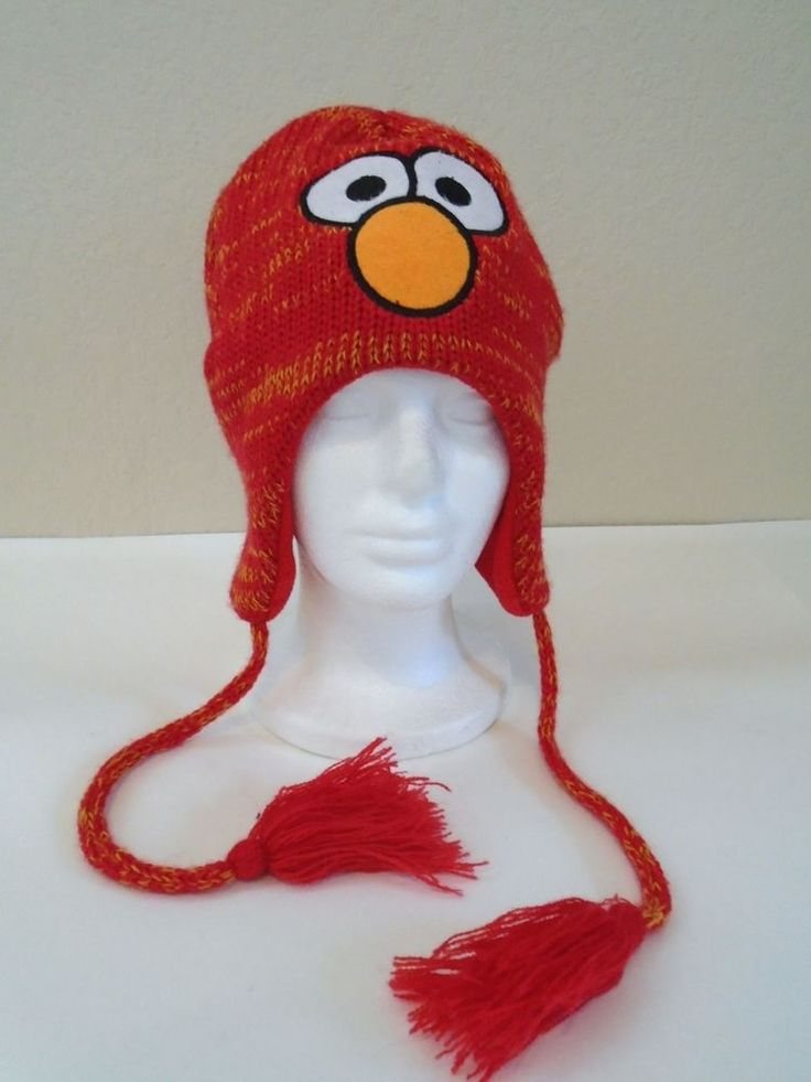 Surfer EMO Grunge Big Nose Eyes RED BLENDED Ear Flap Tam BEANIE Cap Hat sz SM #Unknown #BeanieCapEarFlapHat