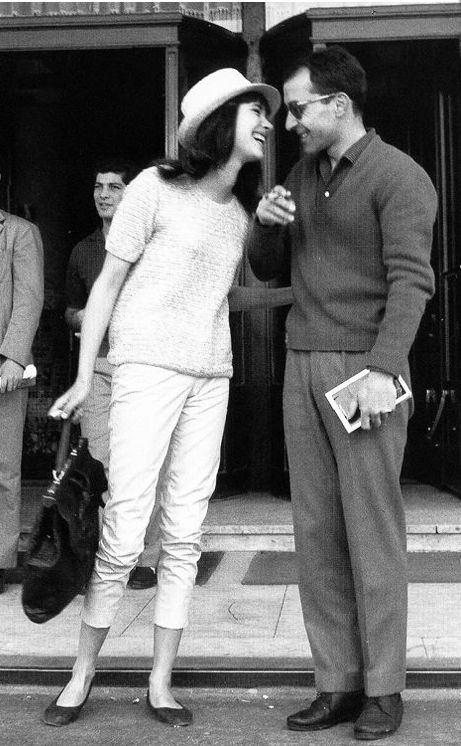 Anna Karina and Jean-Luc Godard outside Hotel Martinez in Cannes, 1960, photographed by Edward Quinn.
