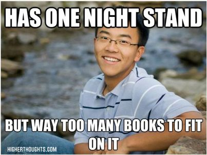 Has one night stand... but way too many books to fit on it.
