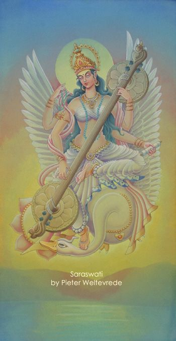 Saraswati (means woman of flow) is the goddess of knowledge and the arts