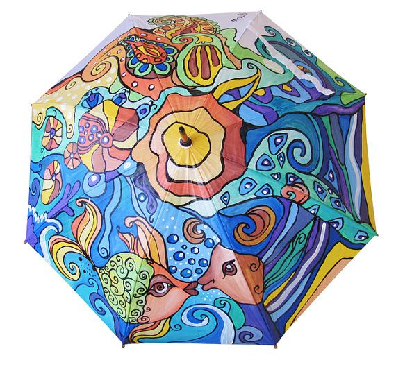 Hand Painted colorfull Umbrella with Fish by Artumbrella on Etsy