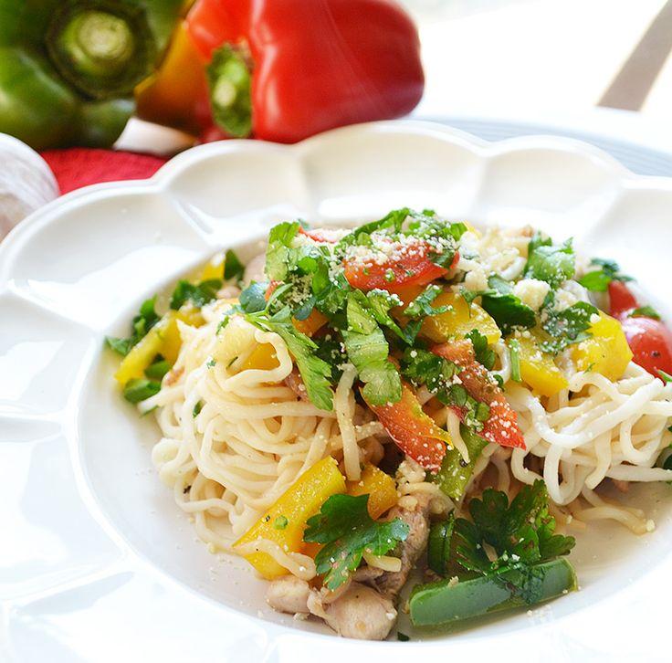 Trio of Capsicum and Chicken Spaghetti