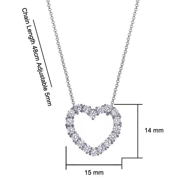 Valentine's Day Gift Idea - Samelia Heart Pendant Made With SWAROVSKI Zirconia in 18K White Gold Plated Necklace #kelvingems #valentine2015 (Free Shipping Nationwide + Free Valentine's Gift Packaging + 1 Year Manufacturer Warranty for SWAROVSKI Zirconia + Free Polishing Service + 7 Days Exchange Period)