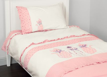 Kittens Applique Bedset For little girls who love cats, what could be more purrr-fect than this cute bedset. Comprising a duvet cover decorated with pretty print appliqued cats with lilac bow collars, matching pillowcase and pretty pink frilled edges.