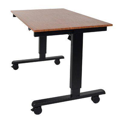 Electric Standing Desk Teak Worksurface/Black Frame