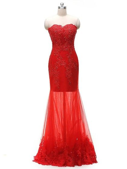 Trumpet/Mermaid Sweetheart Tulle Appliques Lace Floor-length Red Wholesale Prom Dresses #UKM020103442