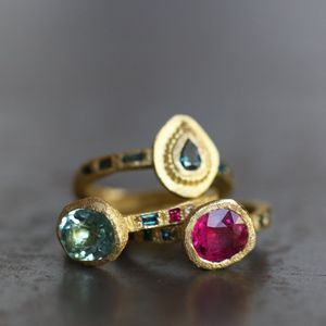 #EstherAssouline - these look pretty similar to our stacking stone rings check them out onlineline; www.tzefira.com