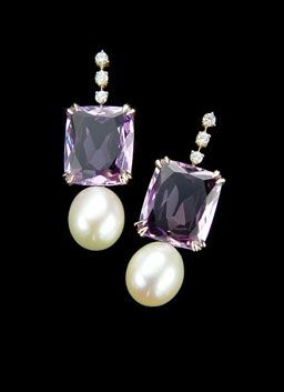 H.Stern Cobblestones earrings in 18k Noble Gold with amethyst, pearls and diamonds